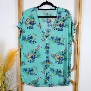 Target top size 12 teal floral cap sleeve casual